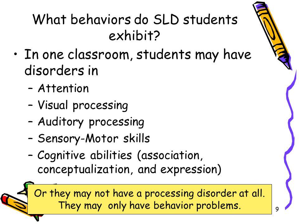 What behaviors do SLD students exhibit