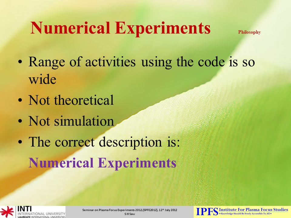 Numerical Experiments Philosophy