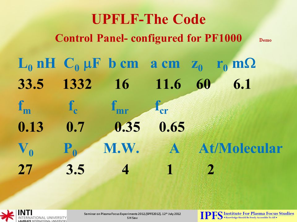 UPFLF-The Code Control Panel- configured for PF1000 Demo