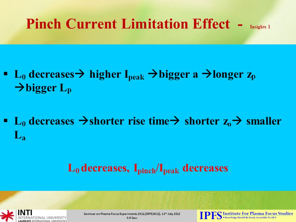 Pinch Current Limitation Effect - Insights 1