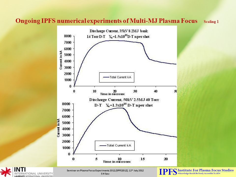 Ongoing IPFS numerical experiments of Multi-MJ Plasma Focus Scaling 1