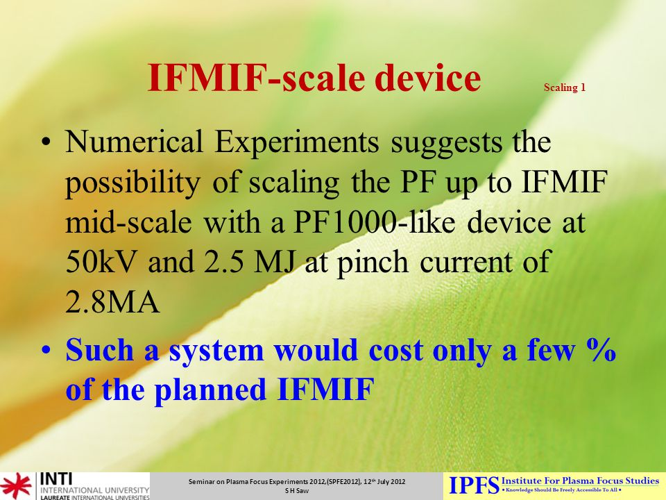 IFMIF-scale device Scaling 1