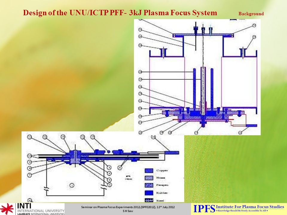 Design of the UNU/ICTP PFF- 3kJ Plasma Focus System Background