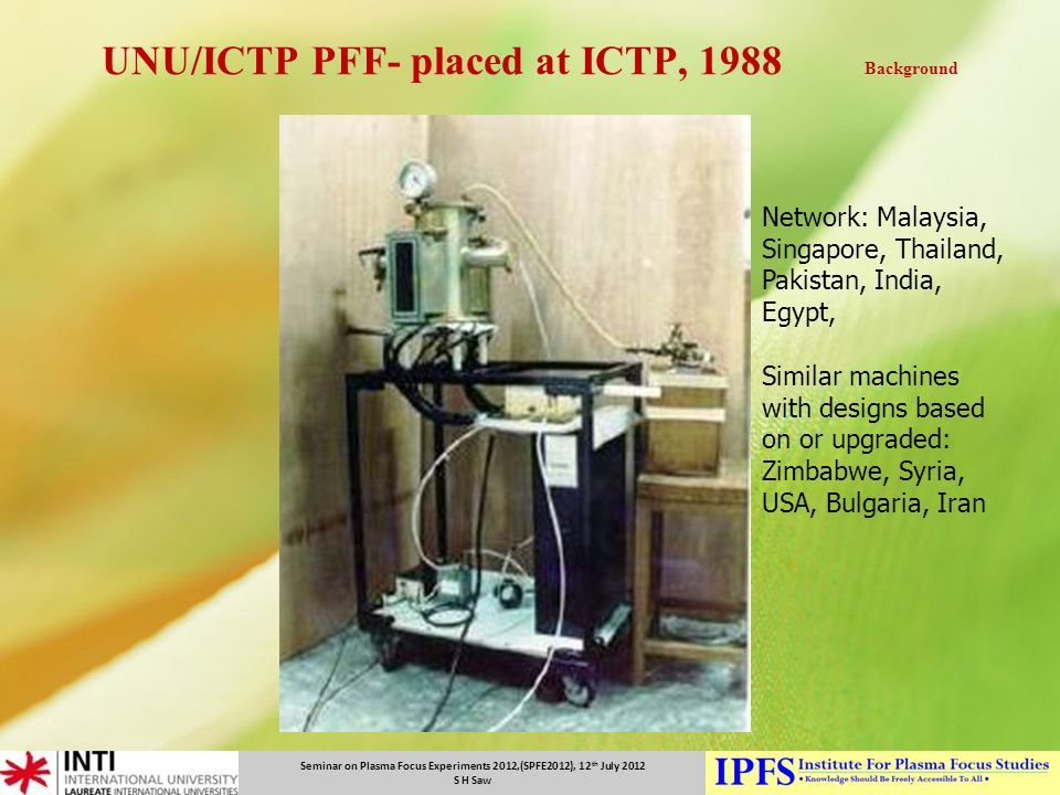 UNU/ICTP PFF- placed at ICTP, 1988 Background