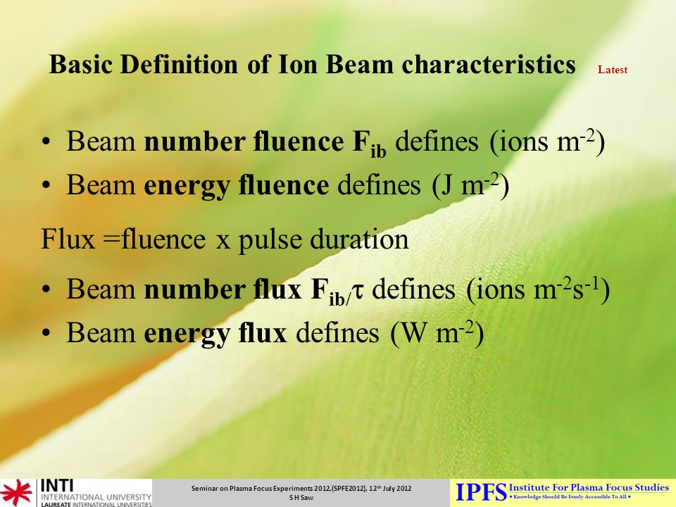 Basic Definition of Ion Beam characteristics Latest