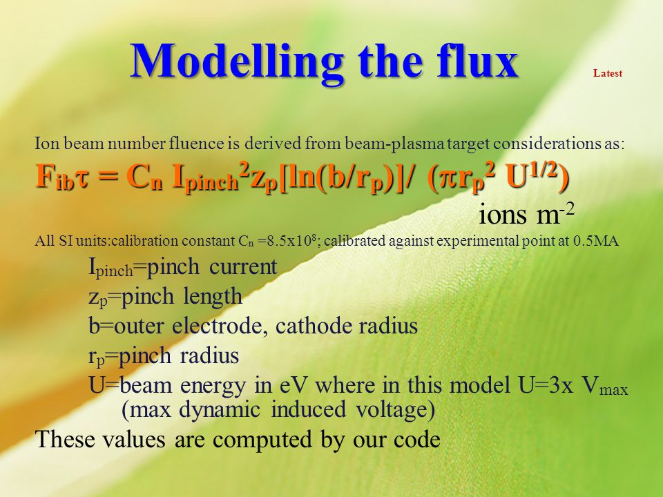 Modelling the flux Latest