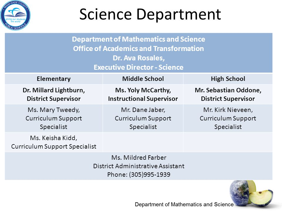 Department of Mathematics and Science