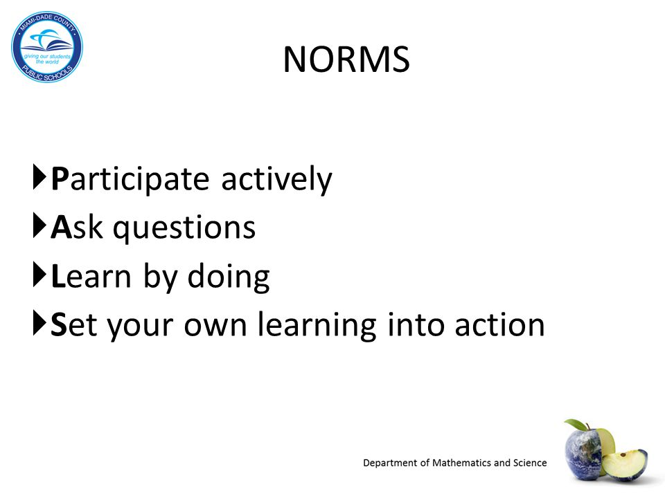 NORMS Participate actively Ask questions Learn by doing