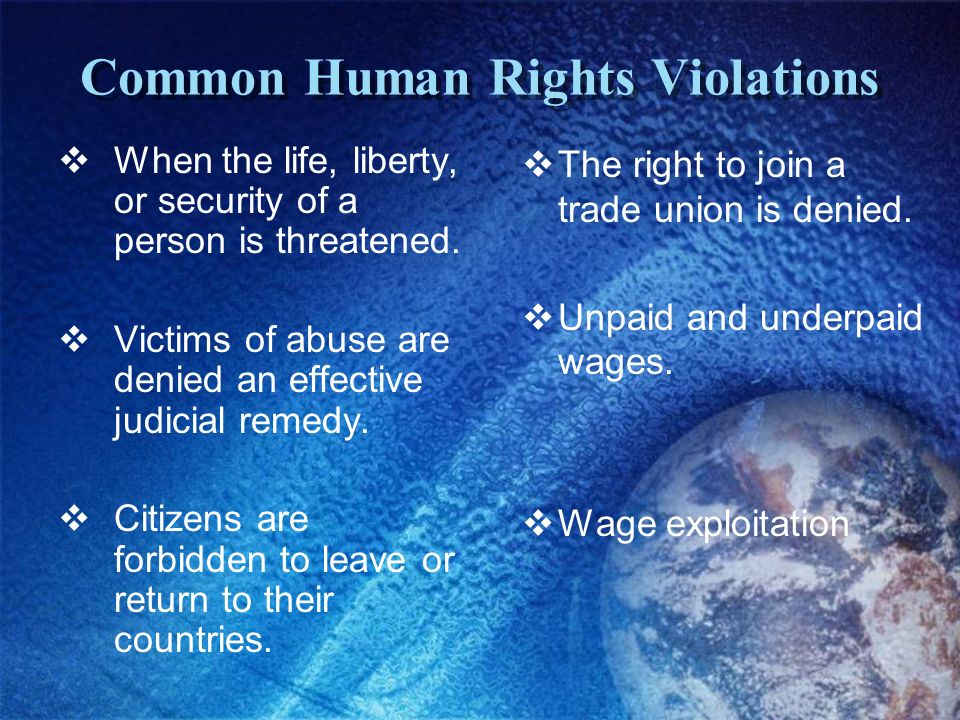 Common Human Rights Violations