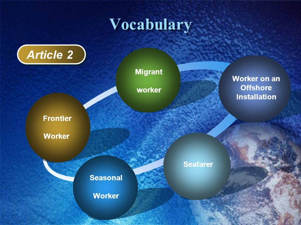 Vocabulary Article 2 Worker on an Offshore worker Installation Worker