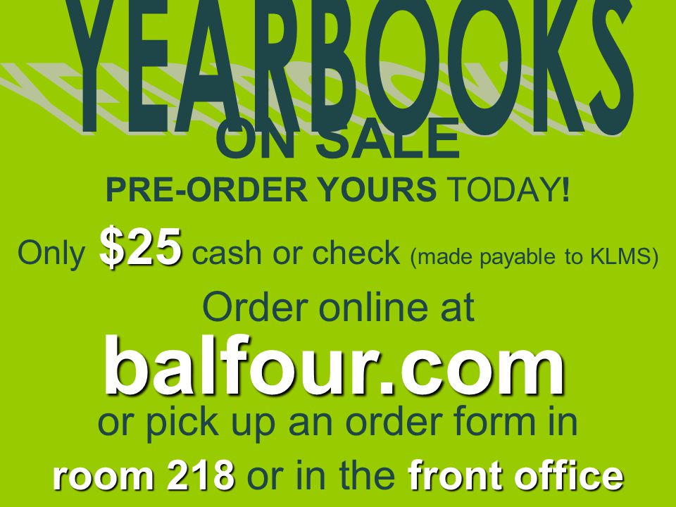 balfour.com ON SALE Order online at or pick up an order form in
