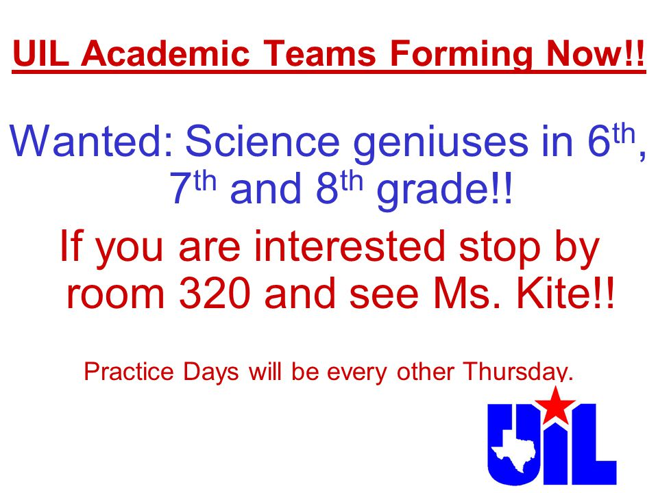 UIL Academic Teams Forming Now!!