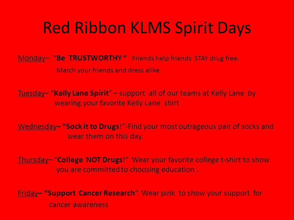 Red Ribbon KLMS Spirit Days