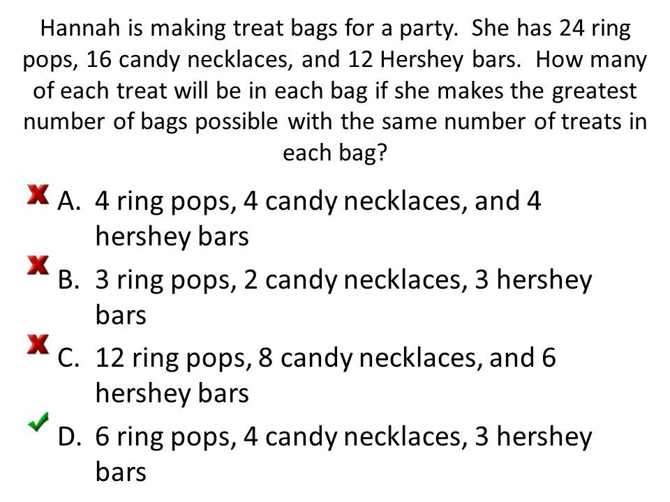 4 ring pops, 4 candy necklaces, and 4 hershey bars
