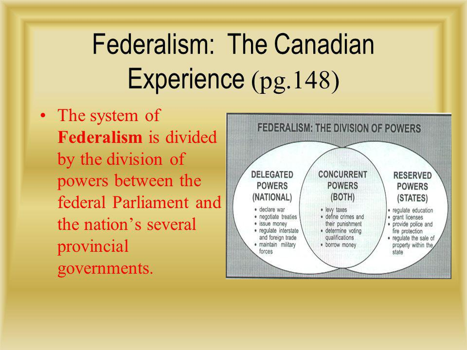 Federalism: The Canadian Experience (pg.148)