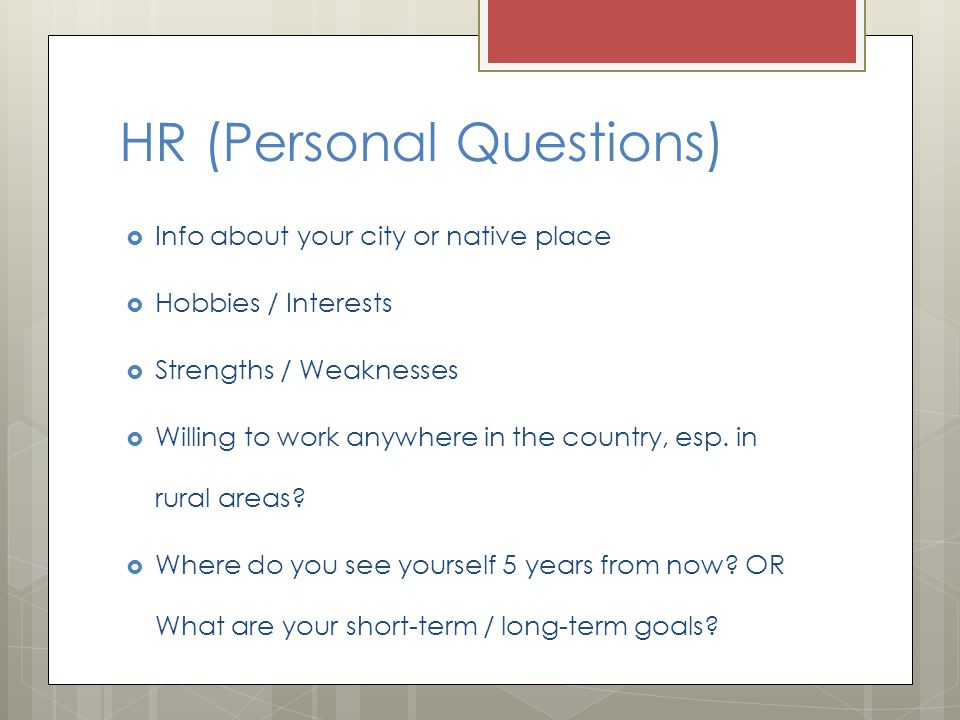 HR (Personal Questions)
