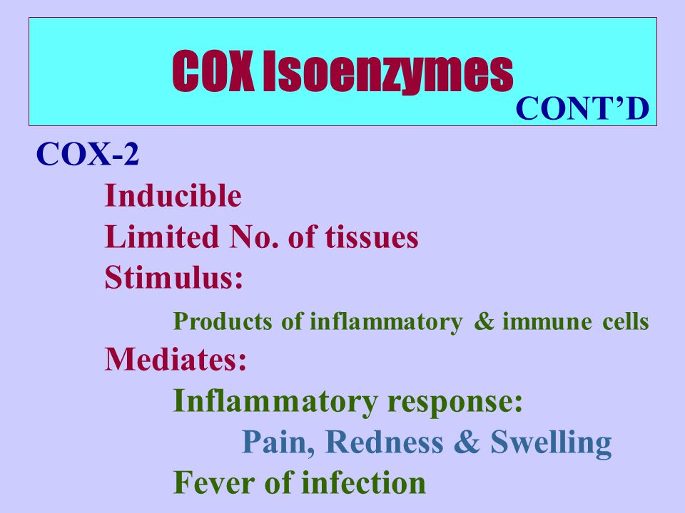 COX Isoenzymes CONT'D COX-2 Inducible Limited No. of tissues Stimulus: