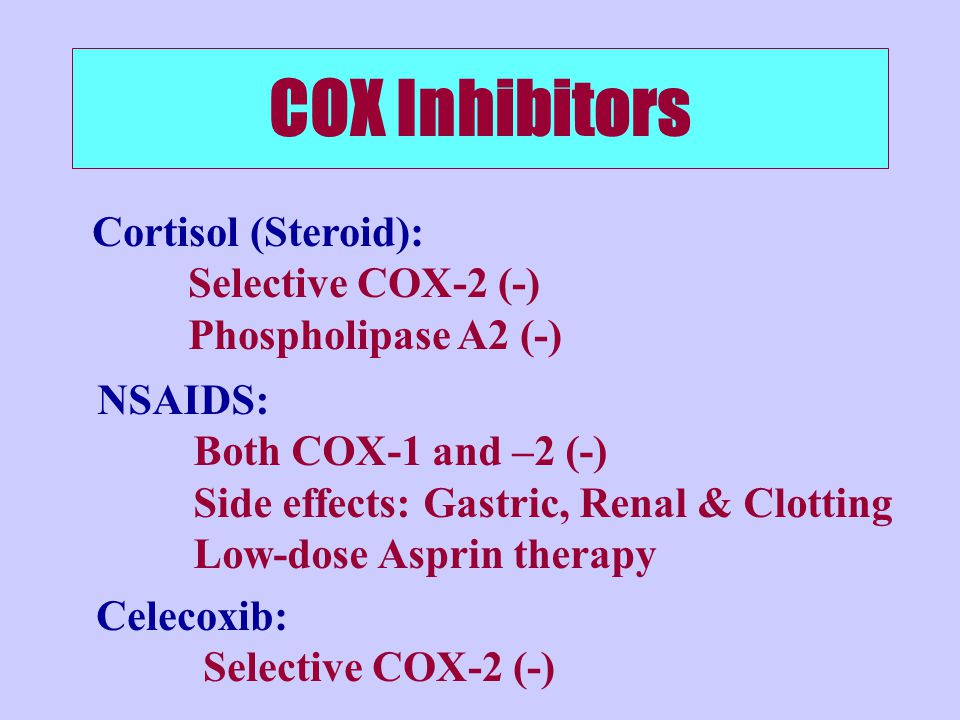 COX Inhibitors Cortisol (Steroid): Selective COX-2 (-)