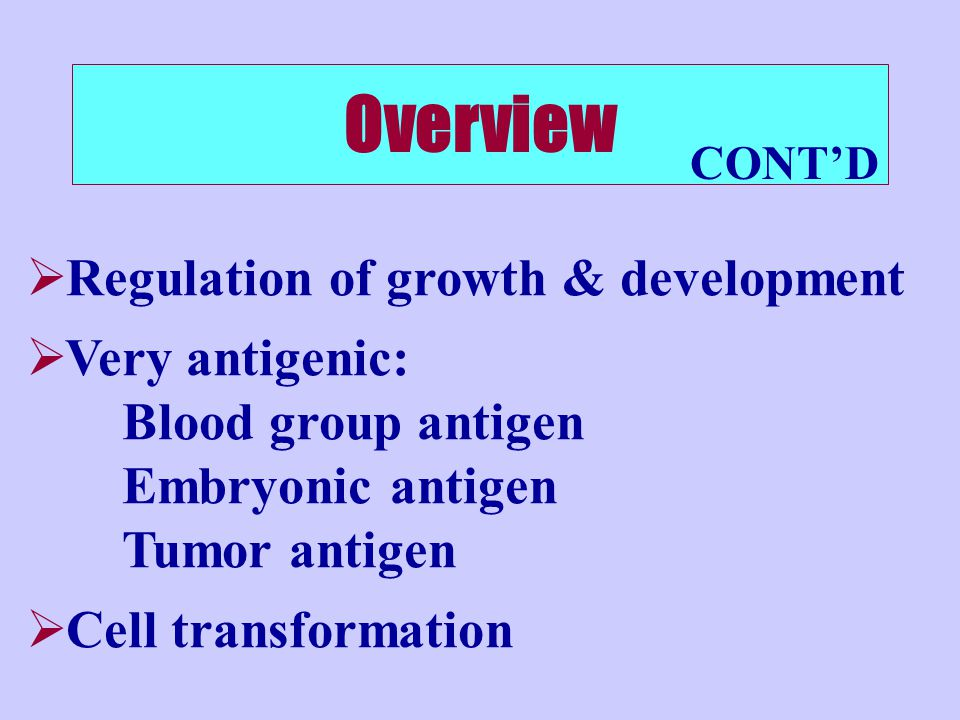 Overview Regulation of growth & development Very antigenic: