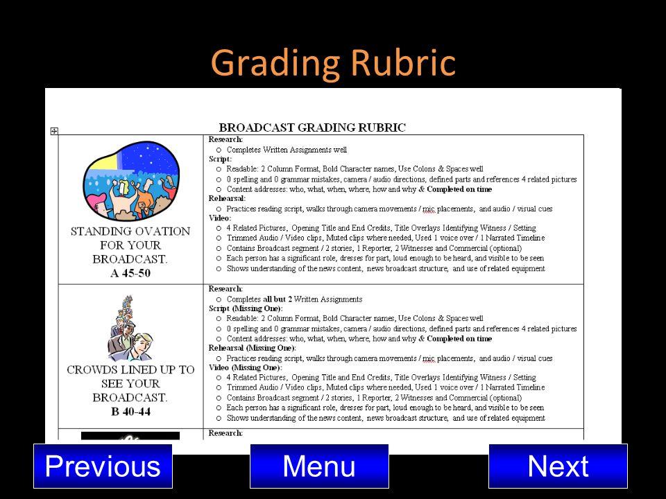 Grading Rubric Previous Menu Next