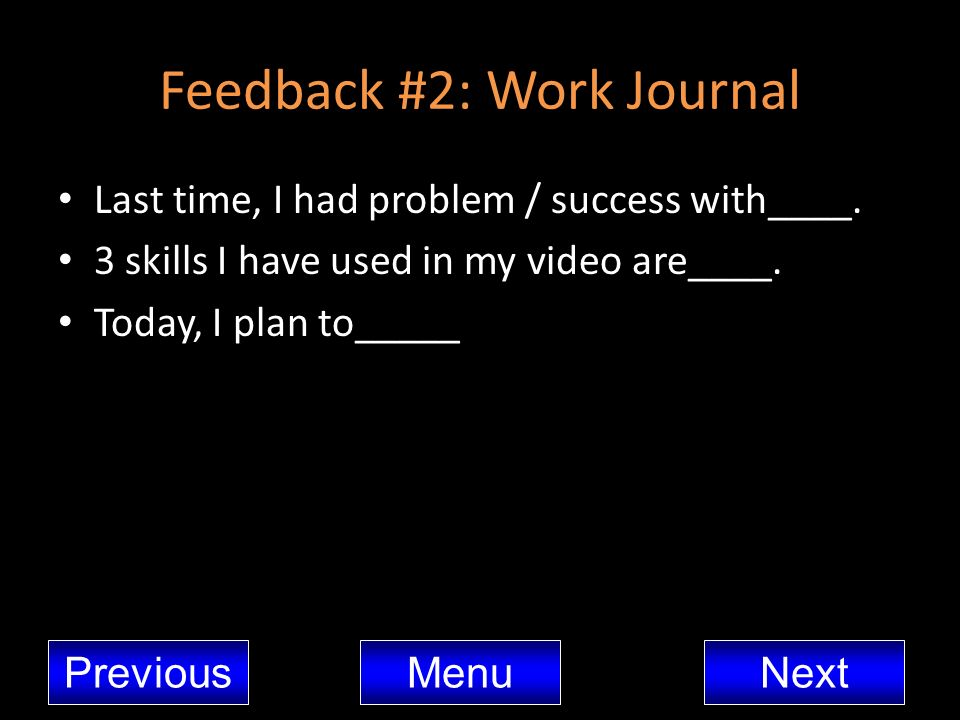 Feedback #2: Work Journal
