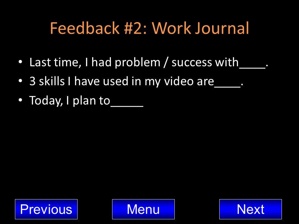 Feedback #2: Work Journal