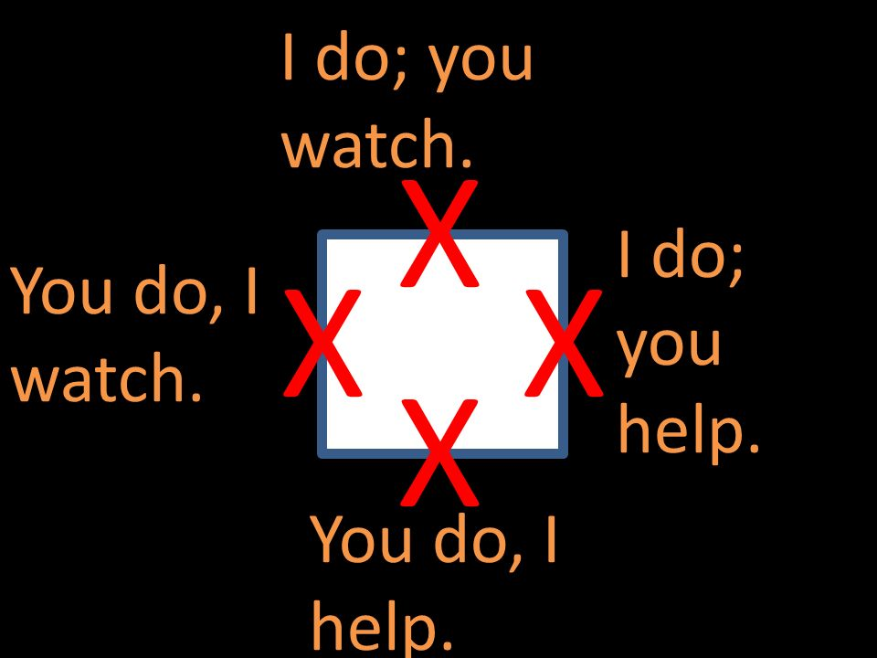 X X X X I do; you watch. I do; you help. You do, I watch.
