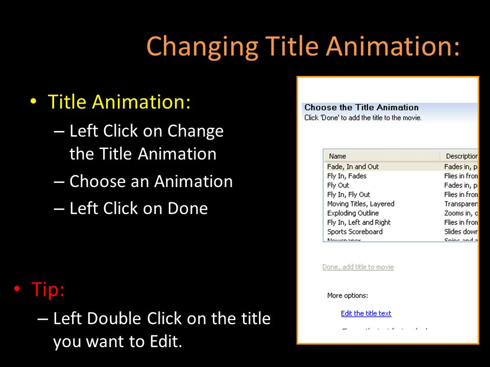 Changing Title Animation: