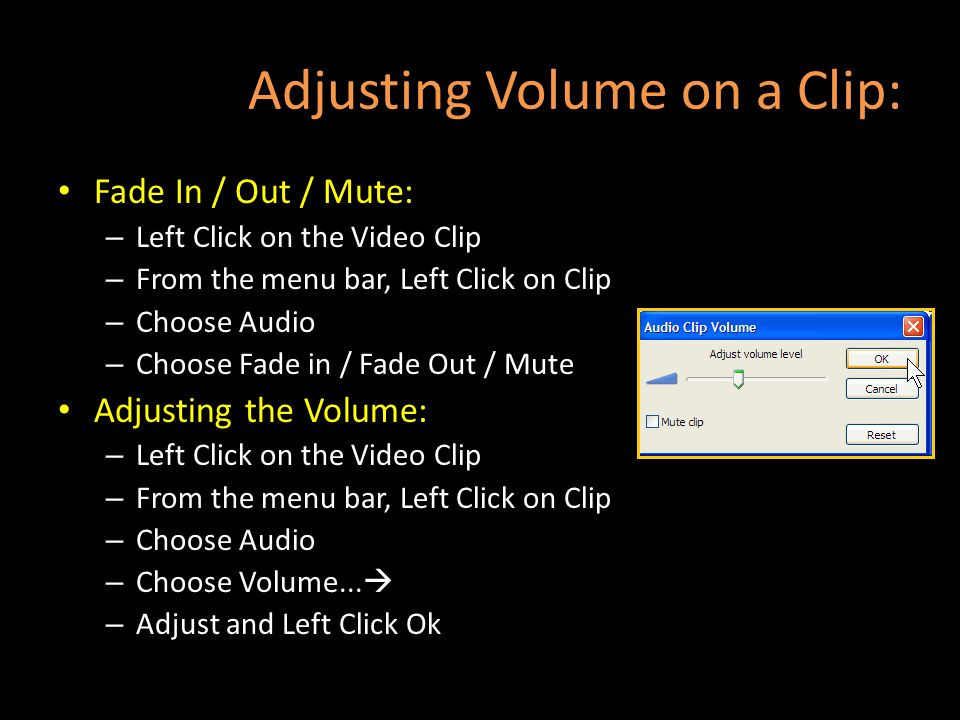 Adjusting Volume on a Clip: