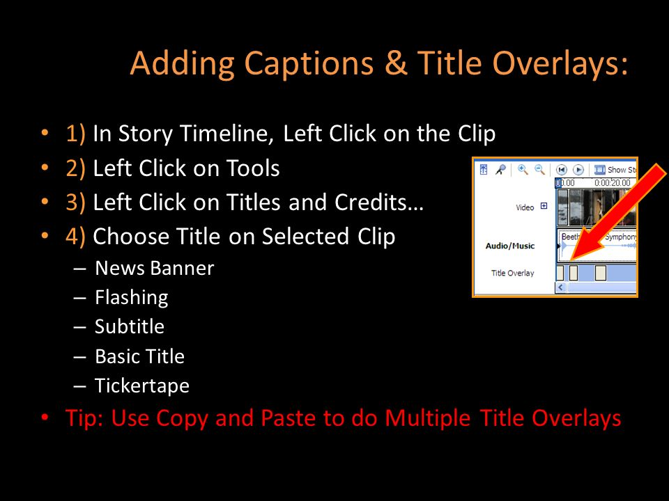 Adding Captions & Title Overlays: