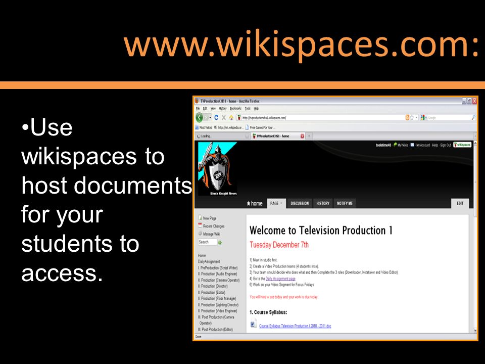 www.wikispaces.com: Use wikispaces to host documents for your students to access. Show again at the end, encourage people to check out portaportal.