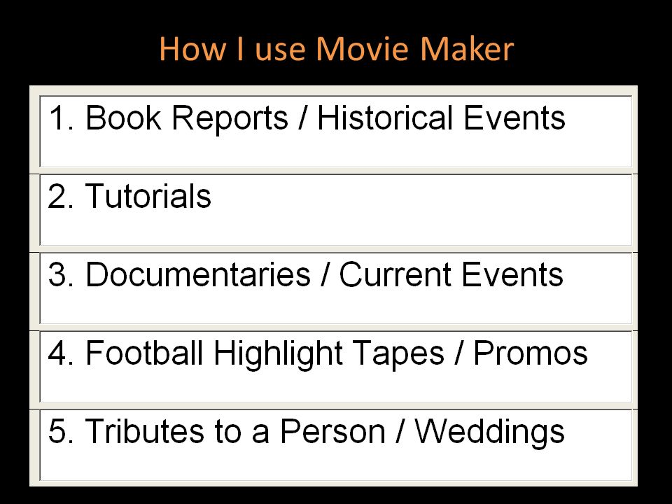 How I use Movie Maker Form groups of 2/3