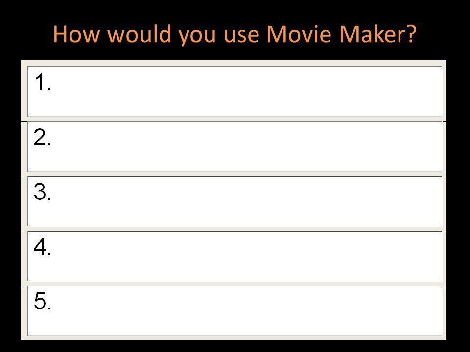 How would you use Movie Maker