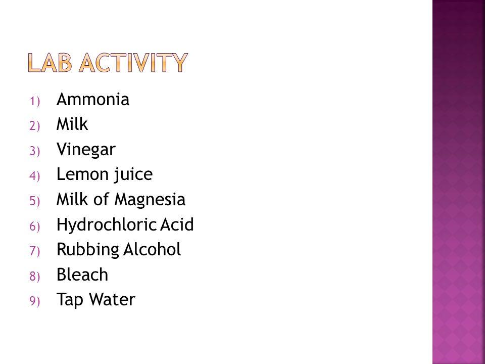 Lab activity Ammonia Milk Vinegar Lemon juice Milk of Magnesia