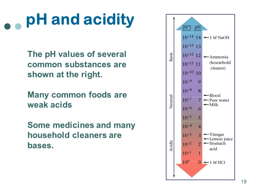 pH and acidity The pH values of several common substances are shown at the right. Many common foods are weak acids.