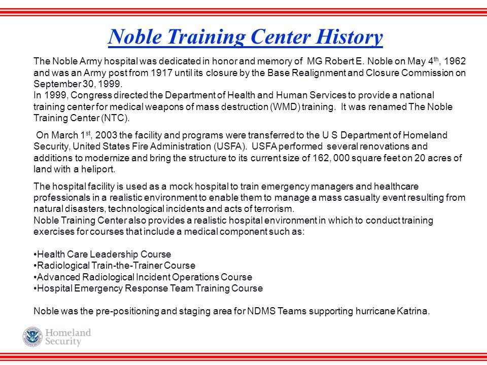 Noble Training Center History