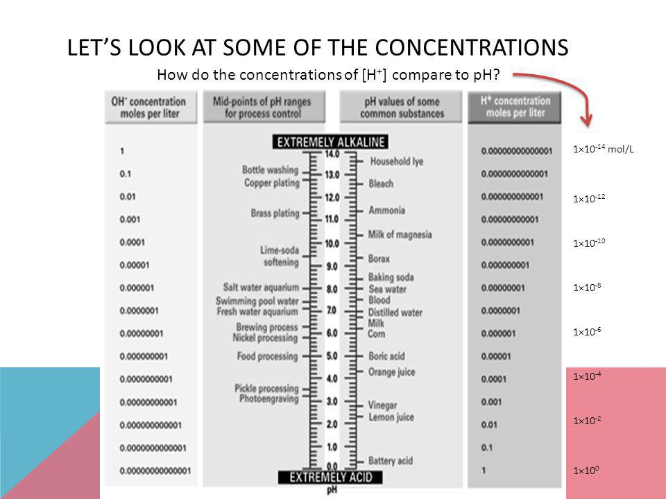 Let's Look at some of the Concentrations