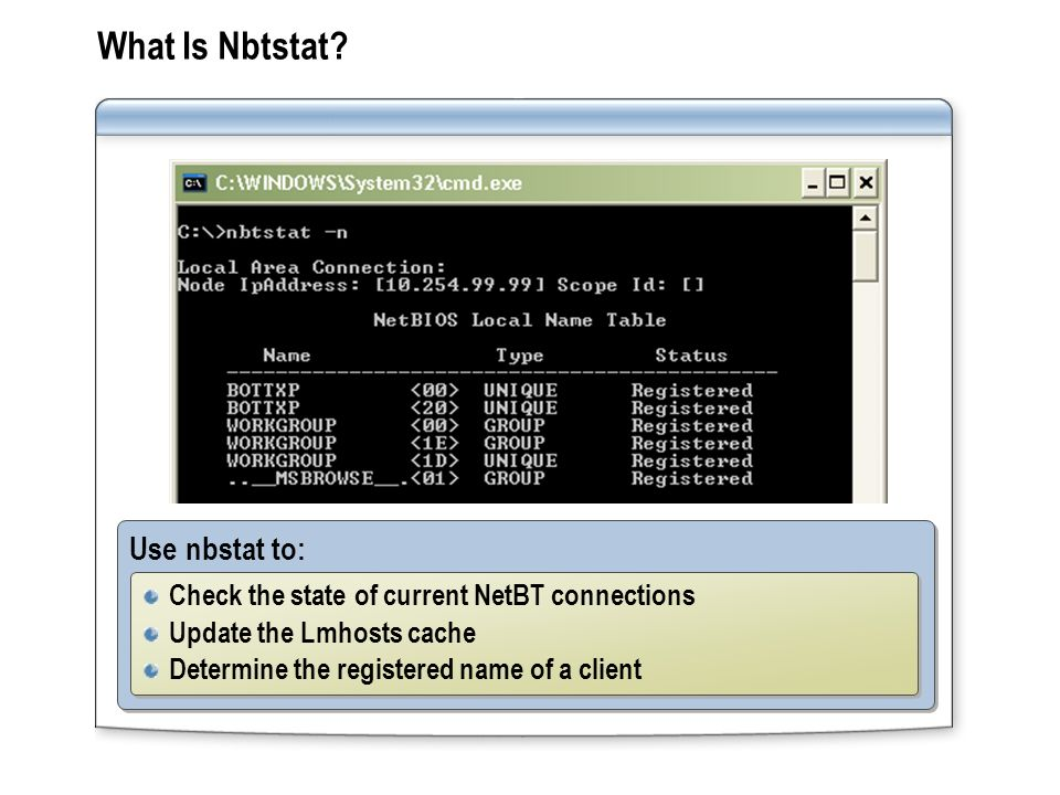 What Is Nbtstat Use nbstat to: