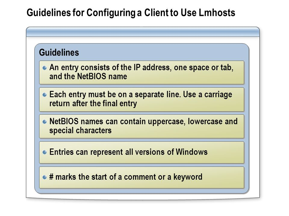 Guidelines for Configuring a Client to Use Lmhosts