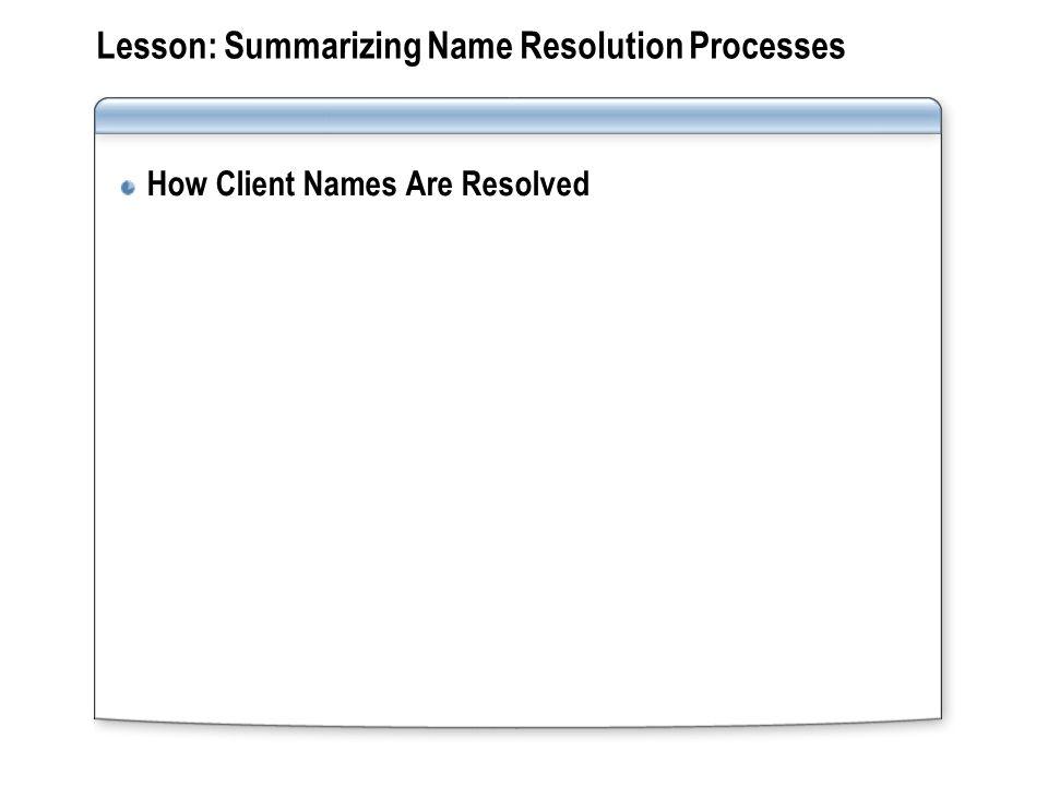 Lesson: Summarizing Name Resolution Processes