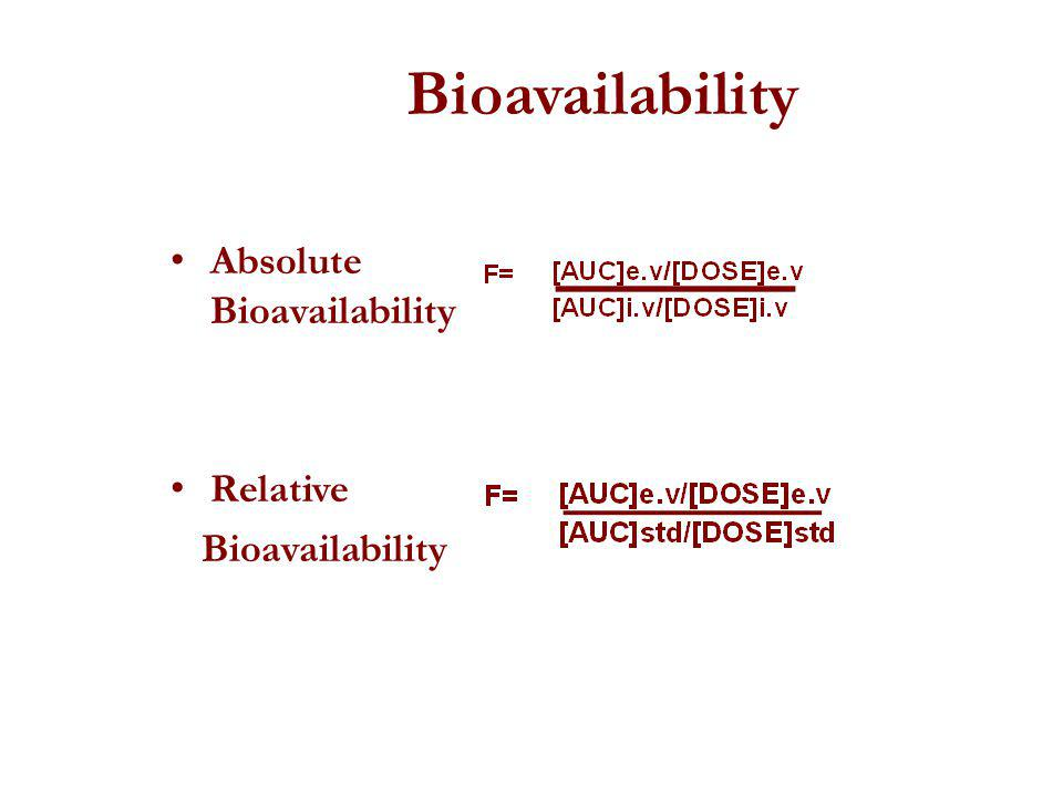 Bioavailability Absolute Bioavailability Relative Bioavailability