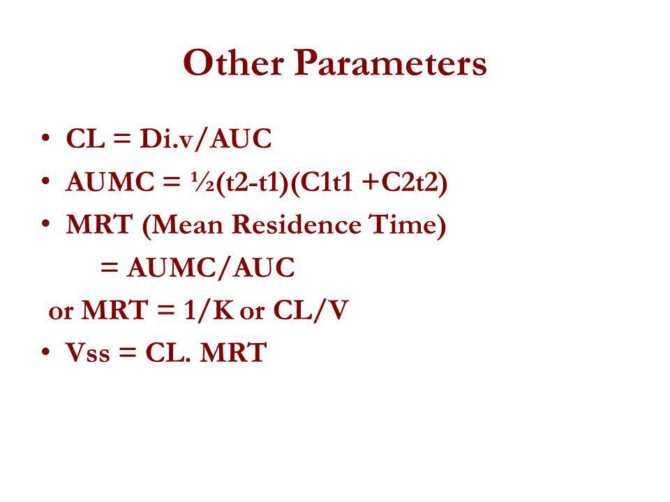 Other Parameters CL = Di.v/AUC AUMC = ½(t2-t1)(C1t1 +C2t2)