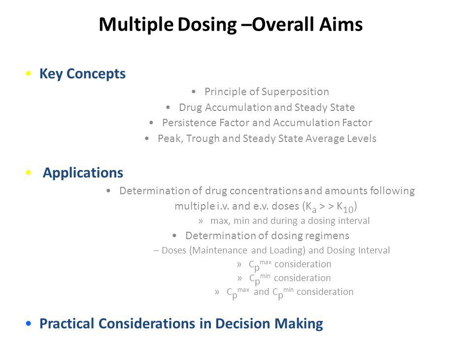 Multiple Dosing –Overall Aims