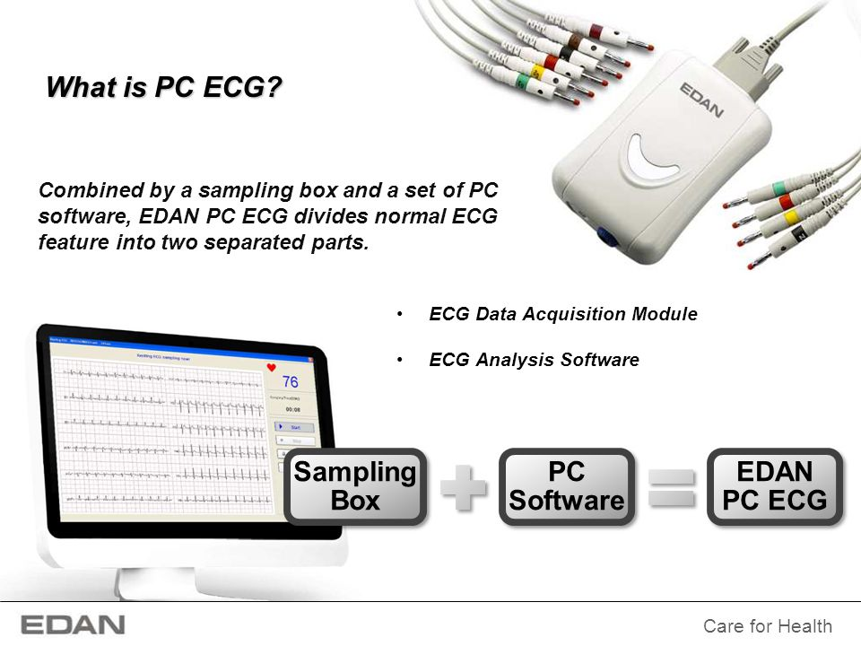 What is PC ECG Combined by a sampling box and a set of PC software, EDAN PC ECG divides normal ECG feature into two separated parts.