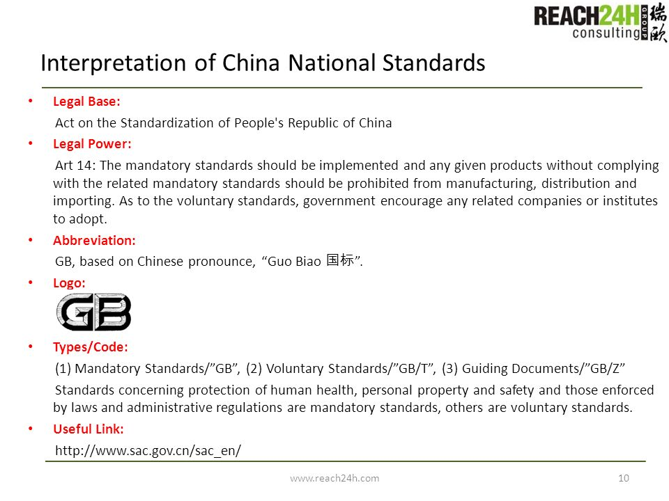 Interpretation of China National Standards