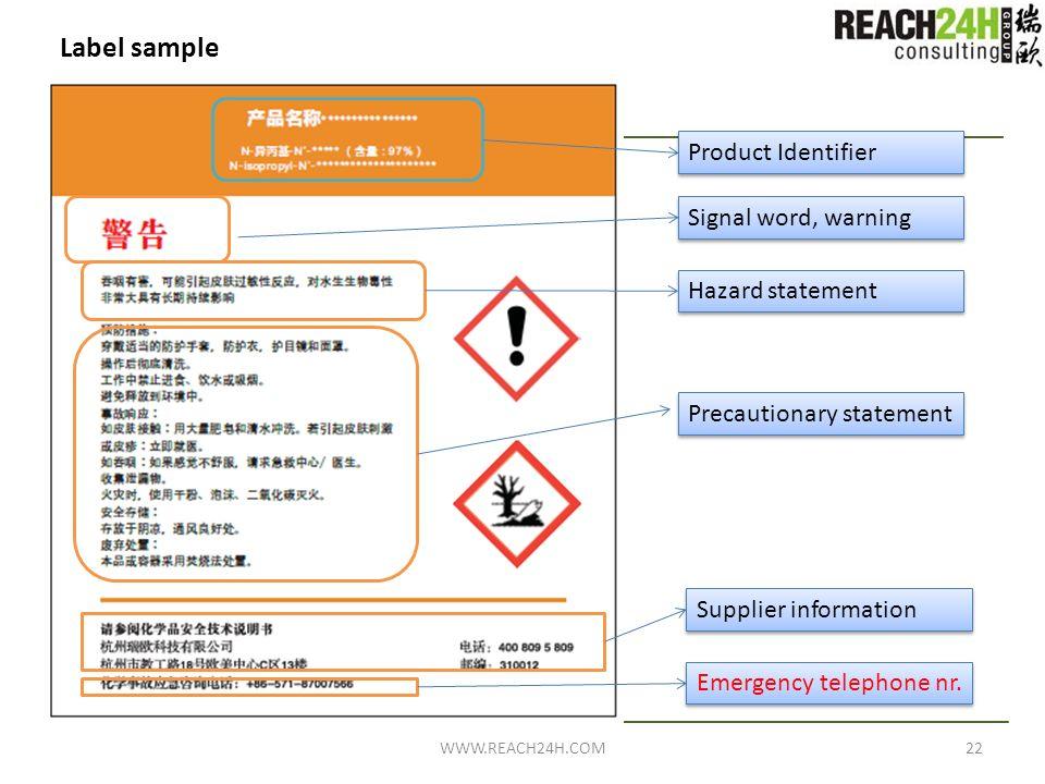Label sample Product Identifier Signal word, warning Hazard statement