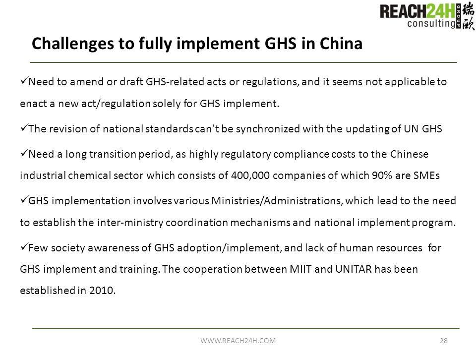 Challenges to fully implement GHS in China