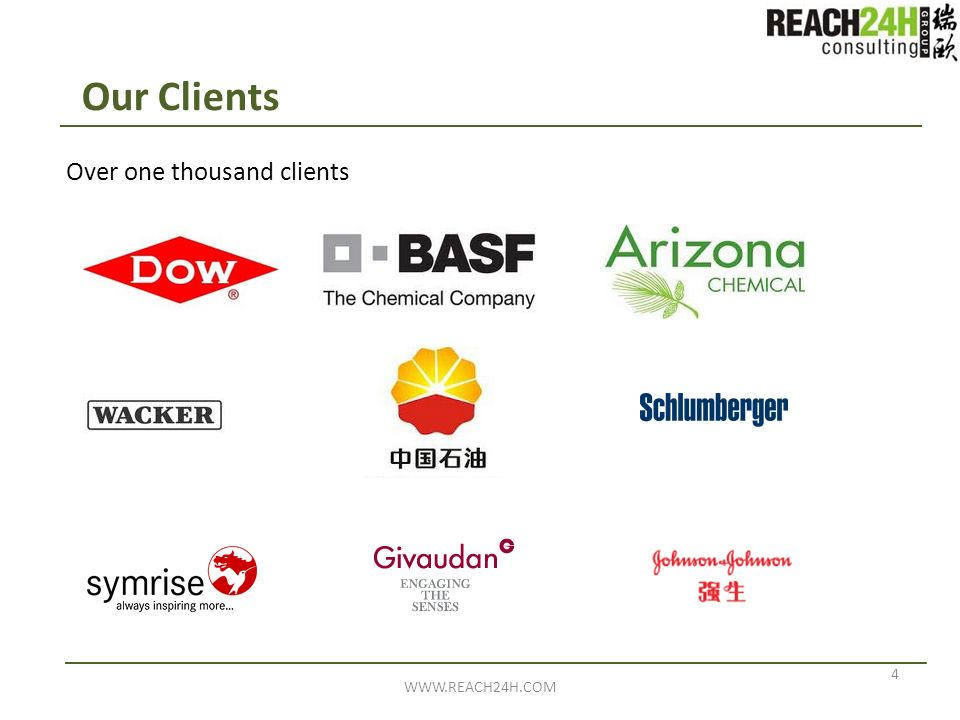 Our Clients Over one thousand clients WWW.REACH24H.COM