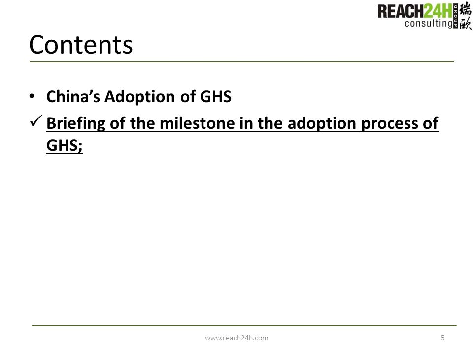 Contents China's Adoption of GHS