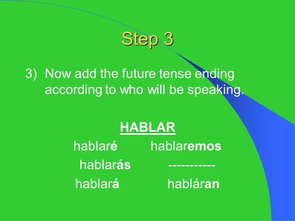Step 3 3) Now add the future tense ending according to who will be speaking. HABLAR. hablaré hablaremos.